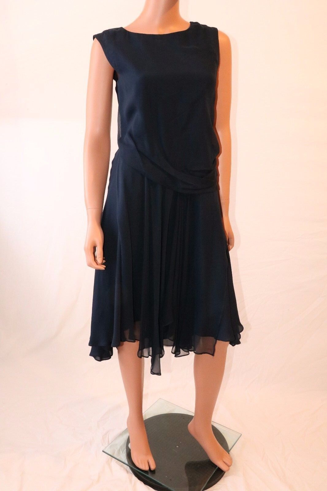 Haute Hippie Dark Blau Sleeveless Keyhole Back Pleated Midi Dress
