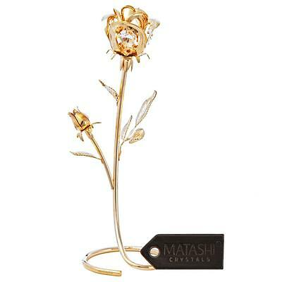 Matashi 24k Gold Plated Tulip Flower with Pink Crystals Gift for Mother/'s Day