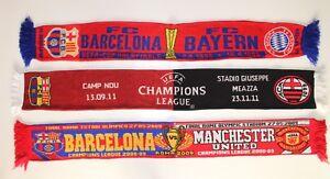BARCELLONA-SCIARPA-MILAN-MANCHESTER-UNITED-BAYERN-MUNCHEN-VINTAGE-FOOTBALL-Sciarpe