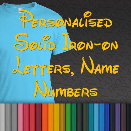 Personnalisé Nom Texte Solid Plain Hot Fix Iron on Disney transfert baby one