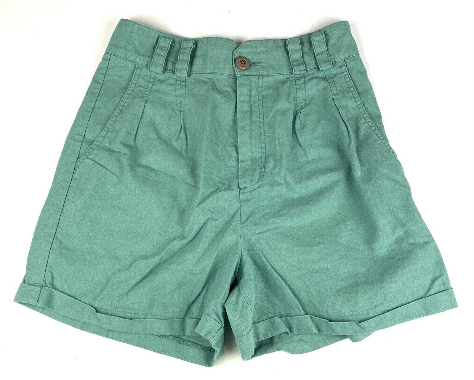 Urban Outfitters Womens Linen blend pleated Shorts Sz 8 green