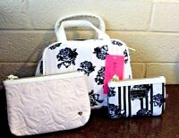 Betsey Johnson Cosmo Floral 3 Piece Cosmetic Bags Blush Black Bone List $58
