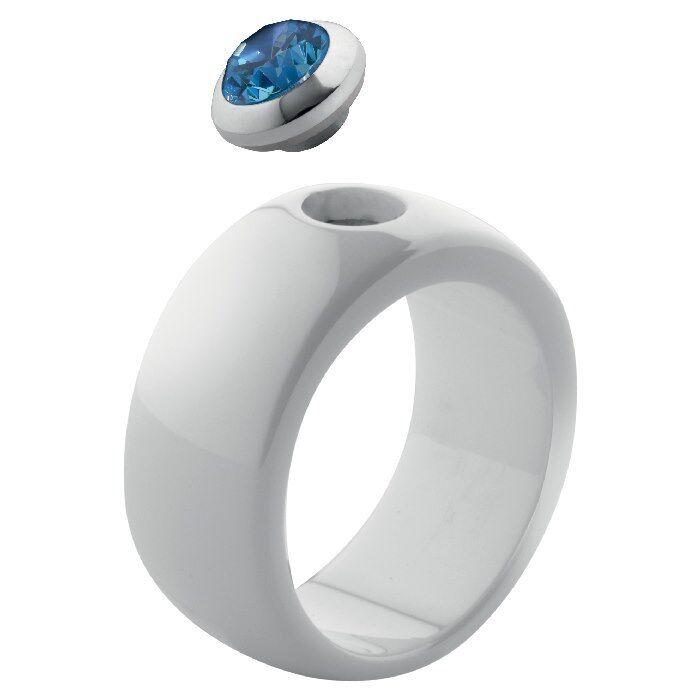 MelanO MelanO MelanO Magnetic Ring Keramik 10 mm breit Dimensione 56 bianca glänzend ohne Kopf 6df781