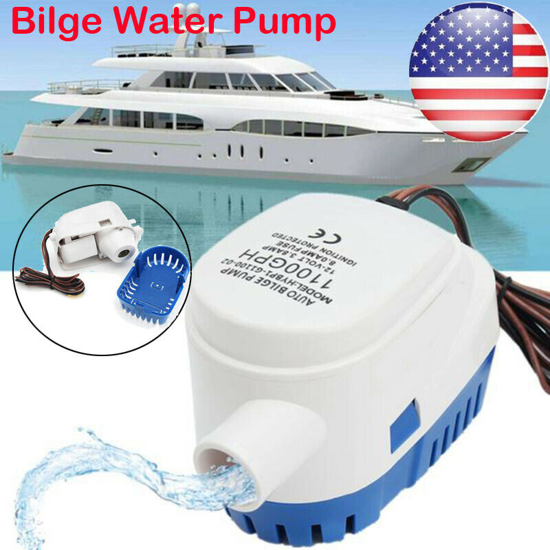 SAILFLO Bilge Pump Automatic with Float Switch 12v Pump for Boat 600 GPH //750 GPH//1100GPH 12 Volt DC All-in-one Marine Submersible Water Pump 4 Year Warranty Auto Yacht RV