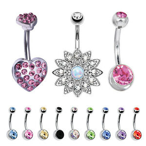 Details About 12 Pieces Belly Button Ring Pink Cz Heart Navel Piercing Bar Jewelry Set