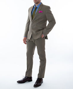 Men-039-s-Pierre-Cardin-Tweed-Slim-Fit-Suit-Olive-Green-100-Wool
