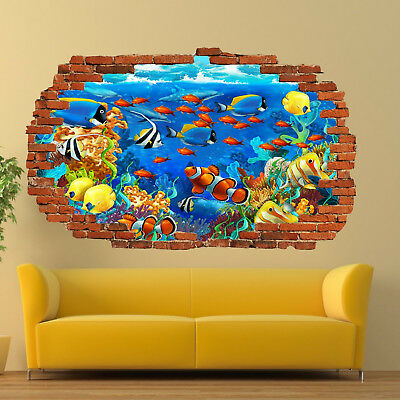 UNDERWATER TROPICAL FISH WALL STICKERS 3D ART MURAL POSTER OFFICE SHOP DECOR UR0
