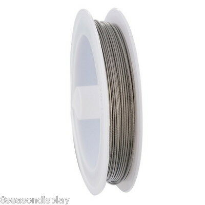 1 Roll Silver Tone Steel Beading Wire 0.8mm 15M/Roll