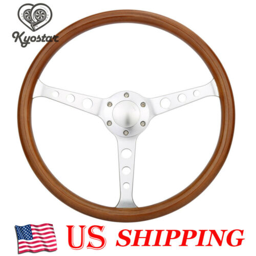 "15/"" Classic Wood Grain Silver Round hole Brushed Spoke Steering Wheel Horn Kit"