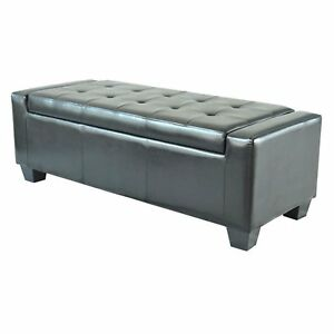 Pleasing Details About Black Ottoman Storage Bench Bedroom Furniture Tufted Footstool Faux Leather Ibusinesslaw Wood Chair Design Ideas Ibusinesslaworg
