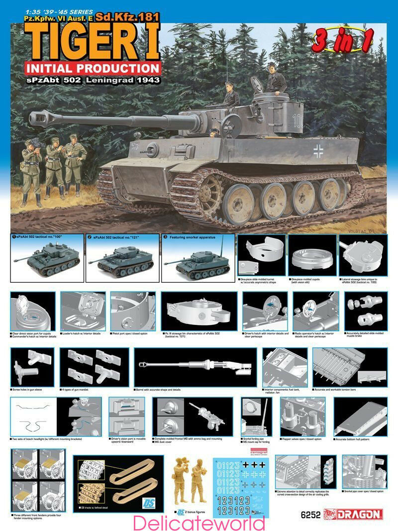Dragon 1 35 6252 Pz.Kpfw.VI Ausf.E Tiger 1 Model Kit