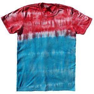 Red-amp-Blue-TIE-DYE-T-SHIRT-Fashion-Tye-Die-Tshirt-Festival-Rainbow-Retro-Tee