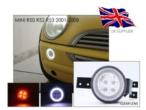 Details About 2001 2008 Mini Cooper S R50 R52 R53 Full Led Front Halo Rim Lights Clear Uk