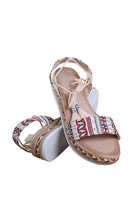 AVA-01-03 WOMEN TRIBAL DESIGN ANKLE TIE SANDAL J'S AWAKE BEIGE