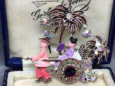 Hermosa Vintage Esmalte Y Cristal Broche RICKSHAW chino