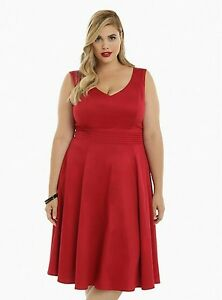 Torrid Women\'s Plus Size 22 Red Retro Chic Pleated Waist ...