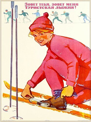 Ski Track is Calling Russia Vintage Russian Travel Advertisement Poster Print