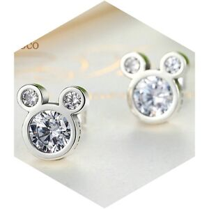 Disney Mickey Stud Earrings Genuine 925 Sterling Silver Free Gift Box