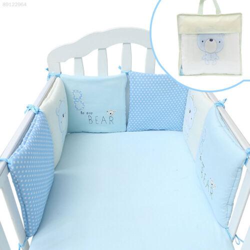 EE06 6pcs//set Soft Cute Baby Crib Cotton Bumper Protector Nursery Care Bedding