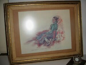 "Navajo Shiprock Native ""marian Goodluck"" Lola Furman Lithograph Framed Ture 100% Guarantee 1935-now Paintings & Drawings"