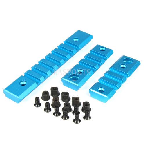 3PCS COMBO BLUE Picatinny//Weaver Rail Sections for Keymod Handguard Rail