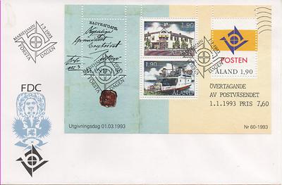 """Fdc Scott: 72 Postal 2 Ersttagsbrief """"eigene Posthoheit"""" Frank Åland 1993 Mi.nr Bl"""