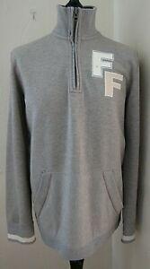 Fat-Face-Grey-Marl-Zip-Funnel-Neck-Cotton-Blend-Sweatshirt-Designer-Top-Medium