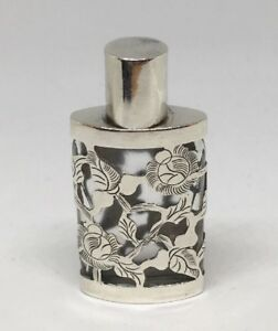 Taxco-Mexico-Glass-Scent-Perfume-Bottle-w-Sterling-Silver-Overlay-Floral-Etched