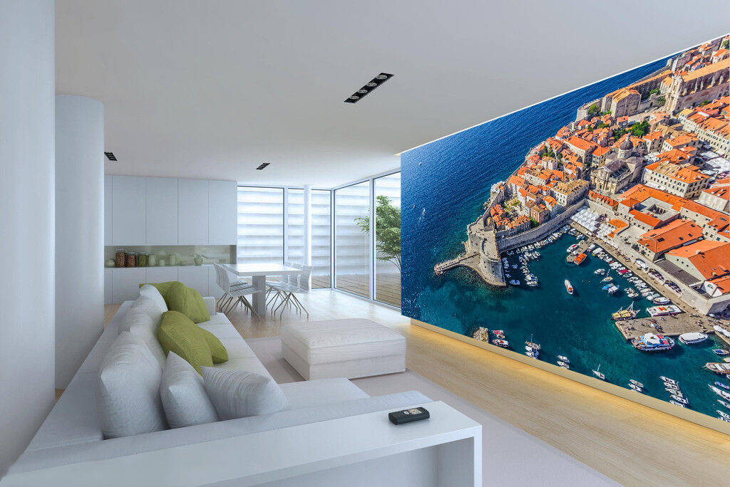 3D coastal city pier Blau Wall Paper Print Decal Decal Decal Wall Deco Indoor wall Mural e9fc0d