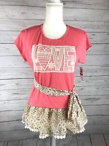 BELLE-DU-JOUR-Girls-Youth-Size-XL-Short-Sleeve-Coral-Design-Blouse-Shirt