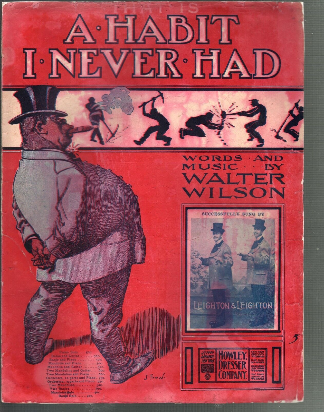 A Habit I Never Had 1904 Large Format Sheet Music