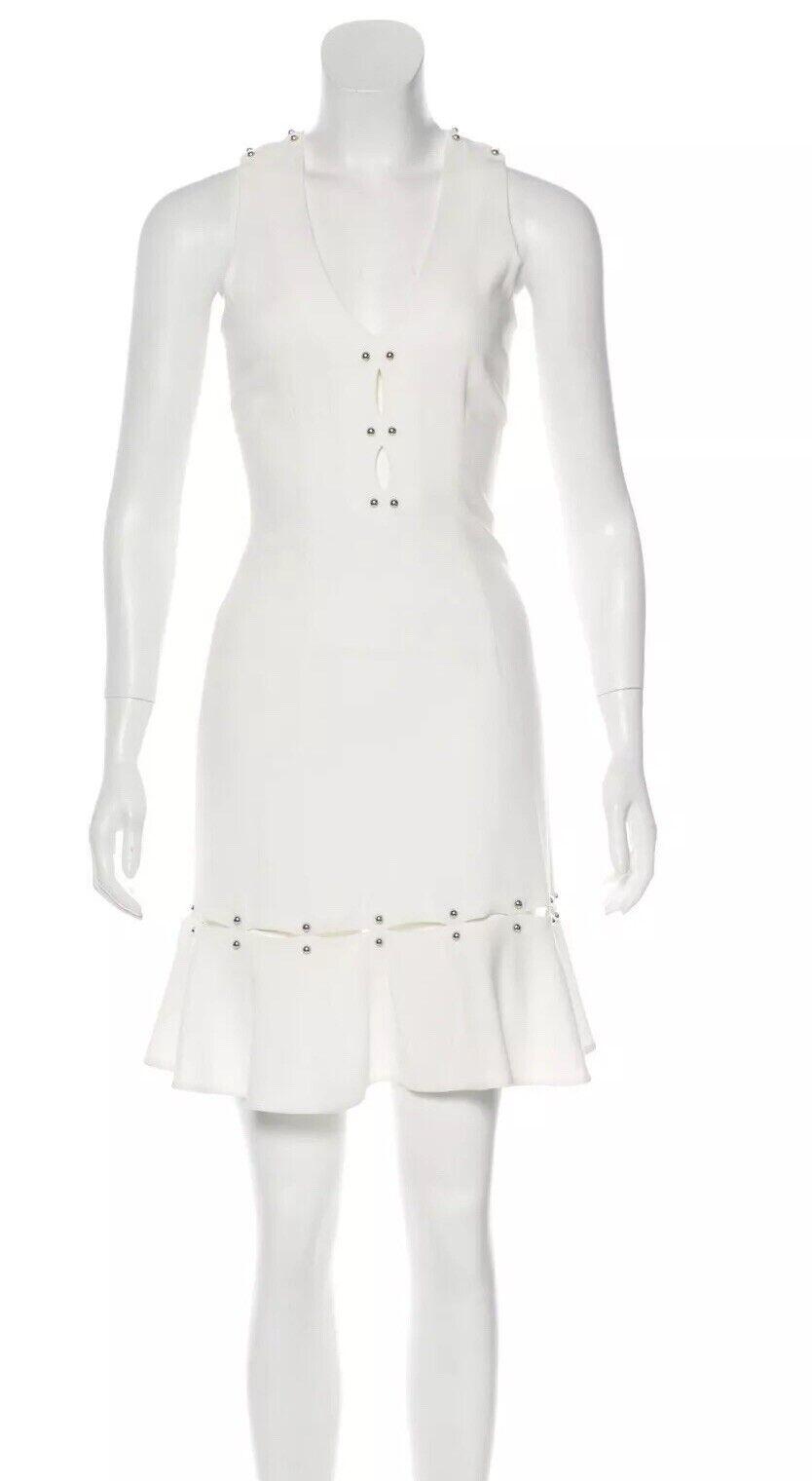 Nuevo con etiquetas Jonathan  Simkhai blancoo de la Llamarada Vestido Talla 0 XS pernos de metal Barbo  presentando toda la última moda de la calle