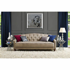 Novogratz Sofa Vintage Tufted Sleeper II Home Living Room Furniture Taupe Velour