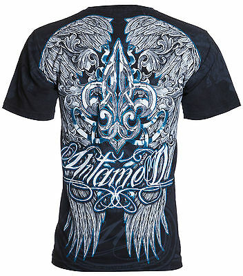 UNTAMED Mens T-Shirt FLEUR DE LIS WINGS Tattoo Biker UFC Roar Xzavier M-3XL $35