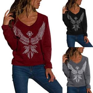Fashion-Women-039-s-New-Long-Sleeve-Print-Top-Wings-Basic-Sweatshirt-V-neck-Blouse