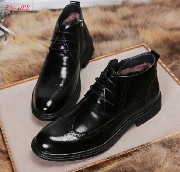 New Men's real leather brogue Carving lace up warm wool lined Casual Ankle Boots