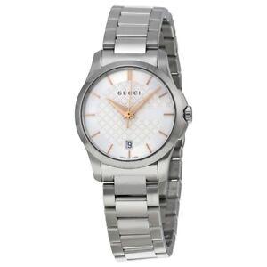 Details about watch woman gucci G,TIMELESS 126SM YA126523 LADIES swiss made  classic SILVER