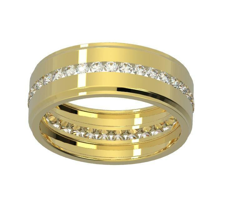 Eternity Wedding Ring 3 4Ct Natural Diamond White Yellow pink gold Channel Set