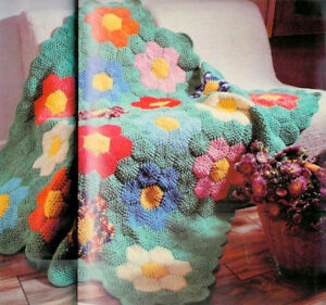 Details about Grandmothers Flower Garden Patchwork Crocheted Afghan Pattern