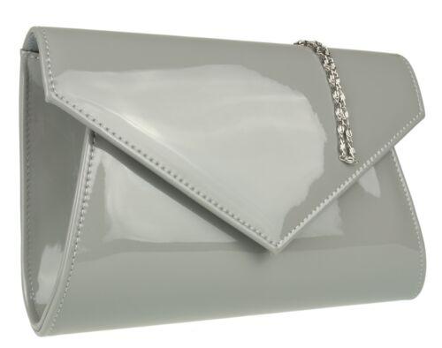 New Faux Leather Patent Simple Clutch Bag Envelope Flap Designer Fashion Evening