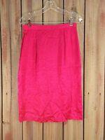 Spenser Jeremy Silk Skirt Hot Pink Pencil Below Knee Women's Size 6 $119