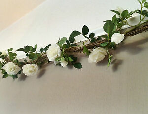 Artificial white rose twig garland string of ivory faux silk image is loading artificial white rose amp twig garland string of mightylinksfo