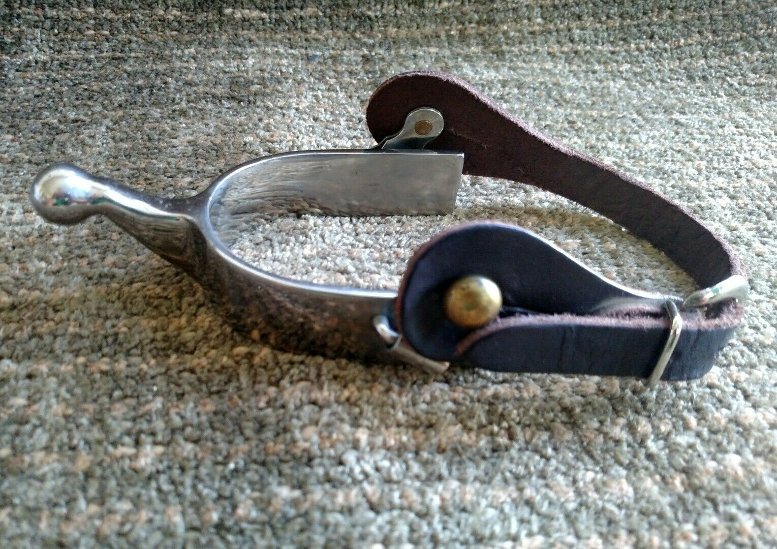Metalab stainless steel Humane blunt-tipped spur, Pelle strap & brass rivets