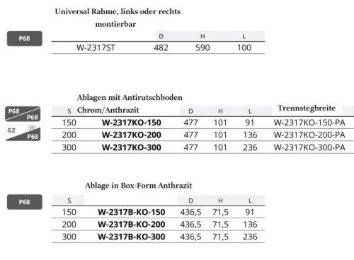Ablage für Auszugsrahmen zum einhängen Farbe Chrom-Anthrazit Antirutschboden