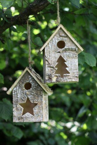 Vogelhaus Sanne aus Holz Vogelhäuschen Deko Nistkasten 2er Set