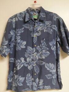 Reyn-Spooner-M-100-Cotton-Button-Front-Hawaiian-Aloha-Shirt-Blue-Plumeria