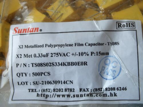 Lot of 10 pcs  SUNTAN 0.33 uF μF K  X2 275VAC  ±10/% TS08S capacitor