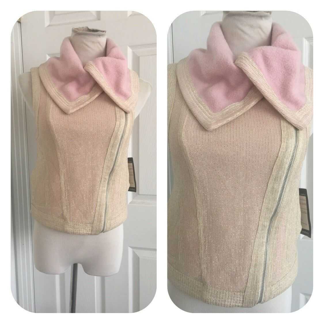 Lucca Couture Pink Fleece Lined Sleeveless Vest Asymmetrical Ziipper Size S  NWT