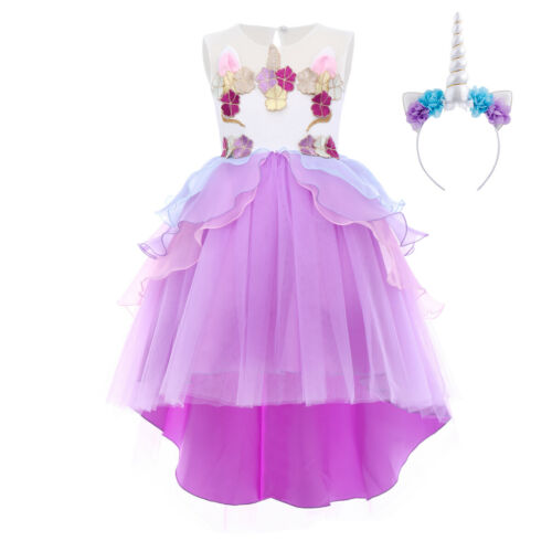 Girl Unicorn Costume High Low Princess Fancy Dress Up Cosplay Birthday Outfits