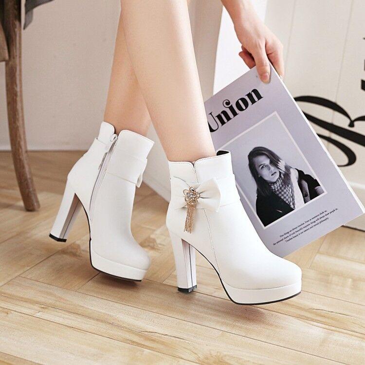 Womens Sweet Bowknot Metal Decor Pumps High Heels Platform Ankle Boots Plus Size